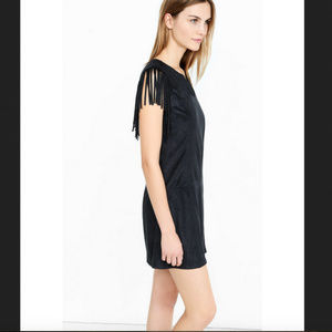New!  Express Faux Suede Fringe Shoulder Dress